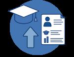 Upload graduate data icon